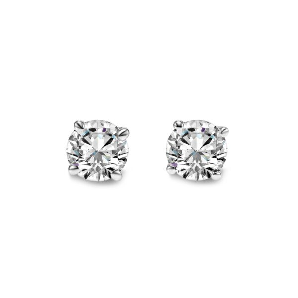 14KW 4prong diamond earrings